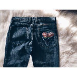 Frankie B. Denim - Frankie B Heart bird Boho Pocket Denim Jeans 6