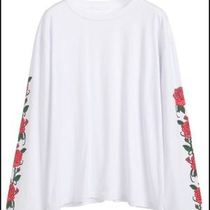 Floral print embroidered long sleeve top white
