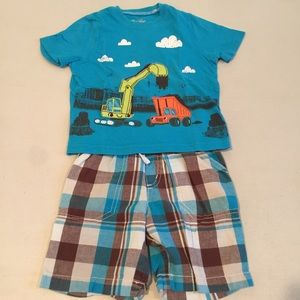 Jumping Jacks Other - JUMPING BEAN digger dump truck top & shorts set