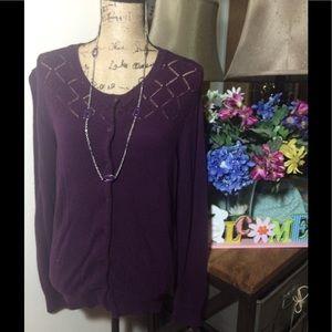 LOFT Sweaters - Ann Taylor Loft Purple Cardigan NWOT