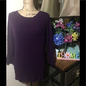 LOFT Sweaters - Ann Taylor Loft Deep Purple Cable Knit NWOT
