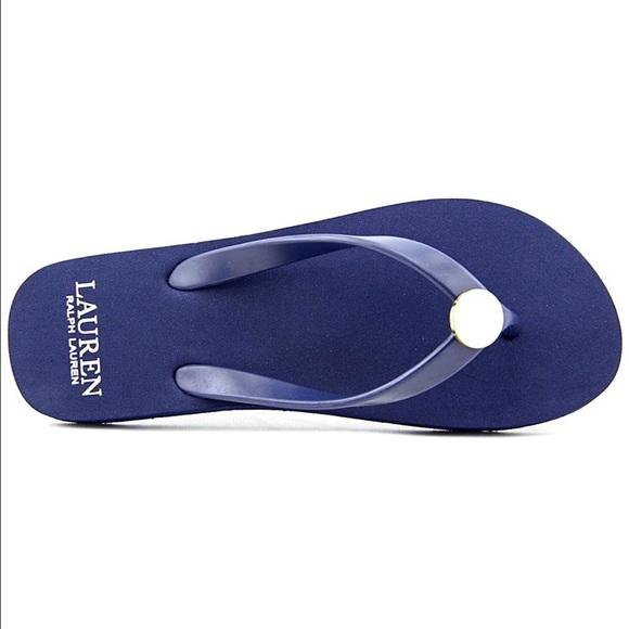 7 Ralph Lauren Womens Elissa II Flip Flops Black // Pink Size: 6 9 8 10