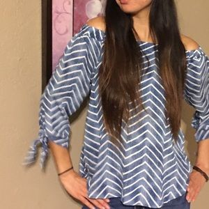 NWOT Blue and white striped off the shoulder top