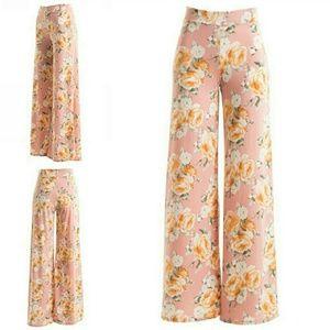 "Fashionomics Pants - ""New Arrival""  Blush Wide Leg Floral pants"