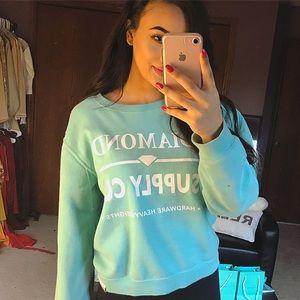 Diamond Supply Co. Sweaters - Diamond Supply Co. Turquoise Crewneck Hoodie