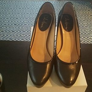 Cole Haan 11B black leather/patent trim Nike air