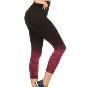 Pants - Black Pink ombre capri yoga workout leggings