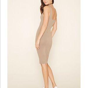 Nude / Mauve Midi Bodycon Dress