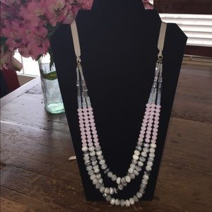 Blush and gray beaded long necklace.