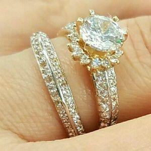 Jewelry - 14k Solid Yellow Gold Engagement Ring Wedding Band