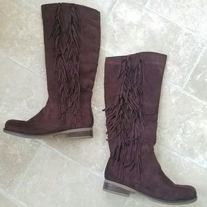 Pinky Collection Brown Suede Fringe Boots