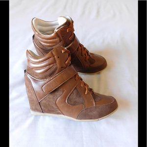 Shoes - Super Fashion Tan Wedge Sneakers W/Strap Detail