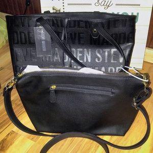 Steve Madden Handbags - Steve Madden 2-n-1 Black Logo Tote