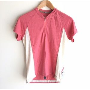 Smartwool Tops - Smartwool Cycling Jersey Pink & White Short Sleeve