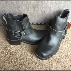 Bilt short leather biker boots 10 black womens