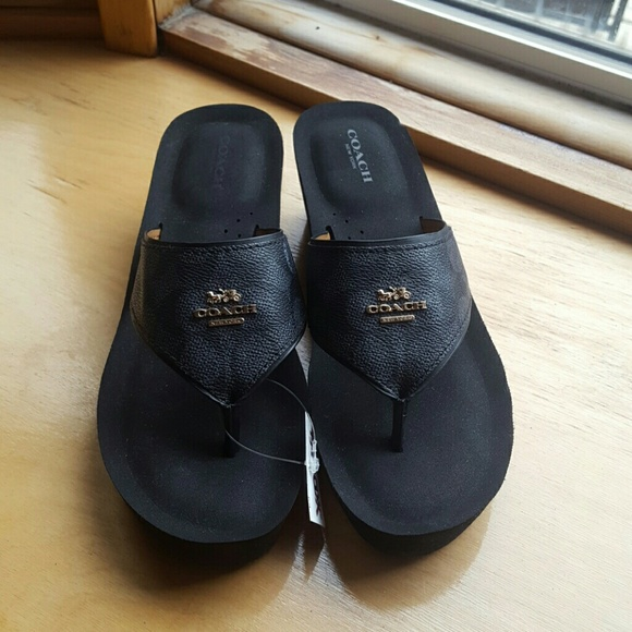 cb4aa17af Black Coach Janice Thong Wedge Leather Sandals
