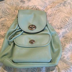 Coach Handbags - 🎉SALE🎉Tiffany Blue Leather Coach Backpack