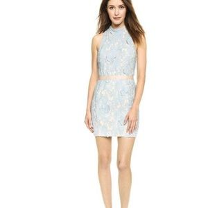 635 English Factory Lace Overlay Mini Dress