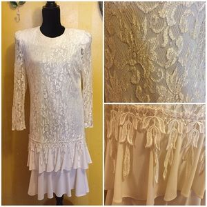 Vintage 80s ivory lace dress Drop waist 10