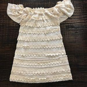 Leifsdottir Dresses & Skirts - Leifsdottir Cream And Embraced Lace Dress