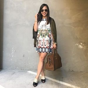 Floral Palm Print Tshirt Shift Dress