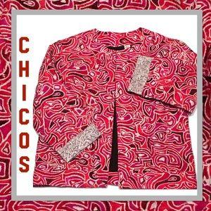 CHICO'S Silk Metallic Jacket ~ Medium❤️
