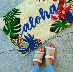 //The Jasmine// Nude Aztec print Sandal