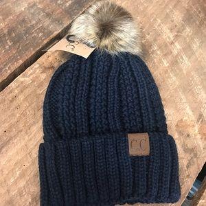 ✨NEW✨ CC Fur Pom Knit Beanie Navy