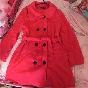 Finejo Jackets & Blazers - New! Hot pink/red wool peacoat