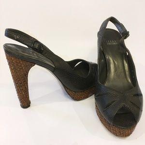 Stuart Weitzman black leather peep toe heels