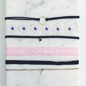 Jewelry - 5 Festival Boho Dainty Gold & Black Choker Bundle