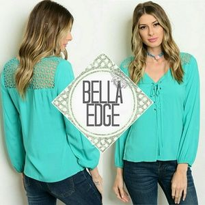 Bella Edge Tops - Turquoise crochet panel lace up top