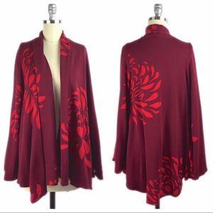 Voom by Joy Han Sweaters - Voom By Joy Han Bell Sleeve Floral Open Cardigan S