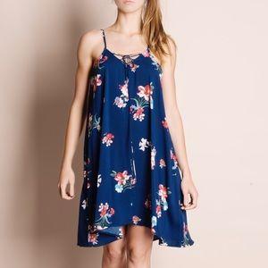 Floral Print Navy Strappy Dress