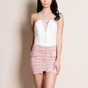 Bare Anthology Tops - xx Lace Up White Lace Bodysuit