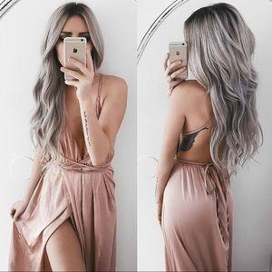 Satin Tie Up Backless Maxi Dress