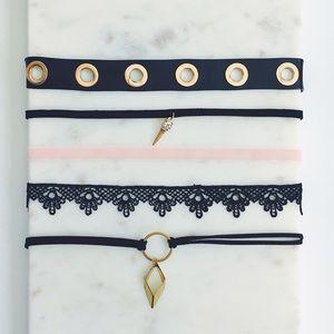 Jewelry - Dainty Black & Gold Boho Choker Bundle