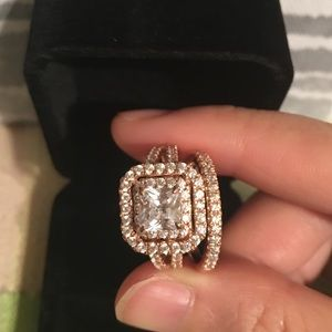 Jewelry - Rose gold 925 silver engagement ring wedding band