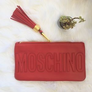MOSCHINO Logo Stitched Clutch  Authentic