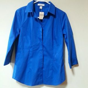 Tailored, royal blue, no-iron blouse.