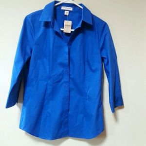 Coldwater Creek Tops - Tailored, royal blue, no-iron blouse.