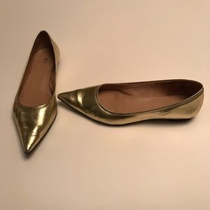bp Shoes - 100% Leather Metallic Gold Pointy Toed Flats