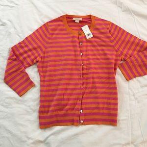 NWT Banana Republic Orange/Pink Stripe Cardigan L