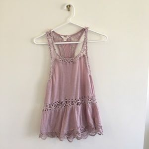 Sun and Shadow Pink Lace Knit Tank Top