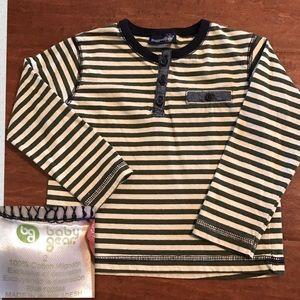 Rugged Bear Hunter Green & Tan striped Shirt