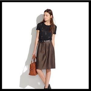 Madewell Pleated Skirt in Stripe