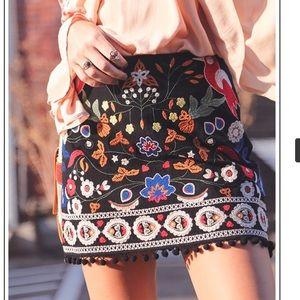 Dresses & Skirts - 🌸Host Pic 🌸Pom Pom Trimmed Embroidered Skirt