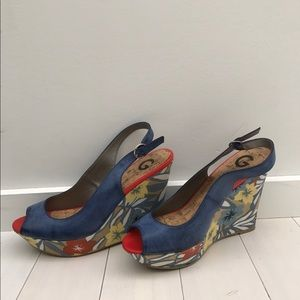 Guess Shoes - Colorful Floral Wedges