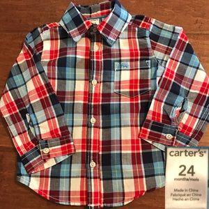 Carters Red,White & Blue checked button down shirt