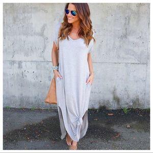 Haute Ellie Dresses & Skirts - Traveler Slit Side Pocket Maxi Dress-Light Gray